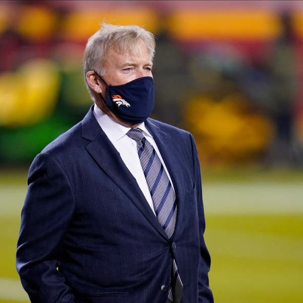Denver Broncos general manager John Elway watches during warmups before an NFL football game against the Kansas City Chiefs in Kansas City, Mo., Sunday, Dec. 6, 2020. (AP Photo/Jeff Roberson)