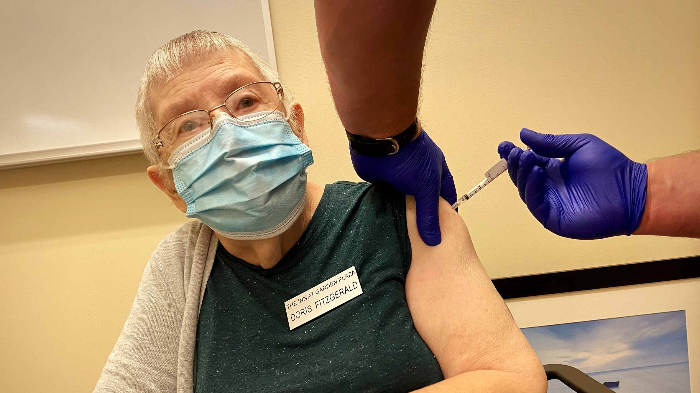 Army Veteran Doris Fitzgerald, 78, receives her second COVID-19 vaccine Feb. 17 at the PFC Floyd K. Lindstrom Clinic in Colorado Springs. / Photo courtesy VA Eastern Colorado Health Care System