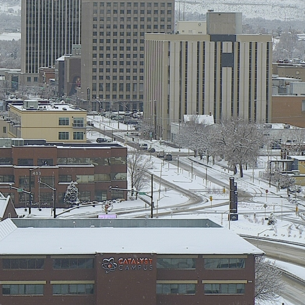 Downtown Colorado Springs around 9 a.m. Thursday.