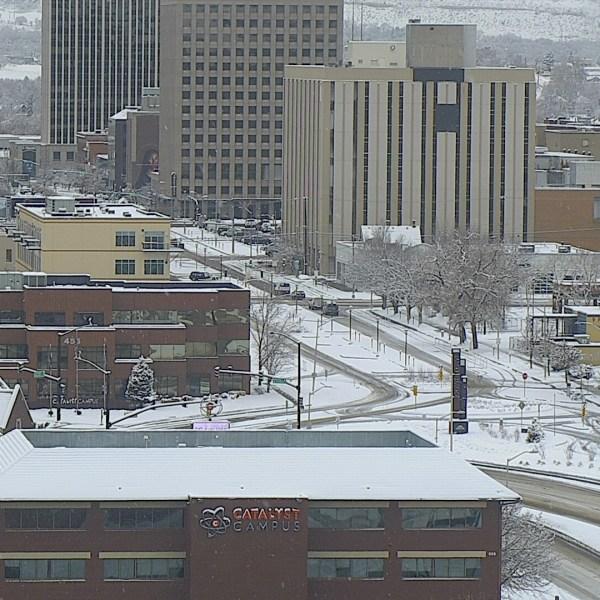 Downtown Colorado Springs around 9 a.m. Thursday.