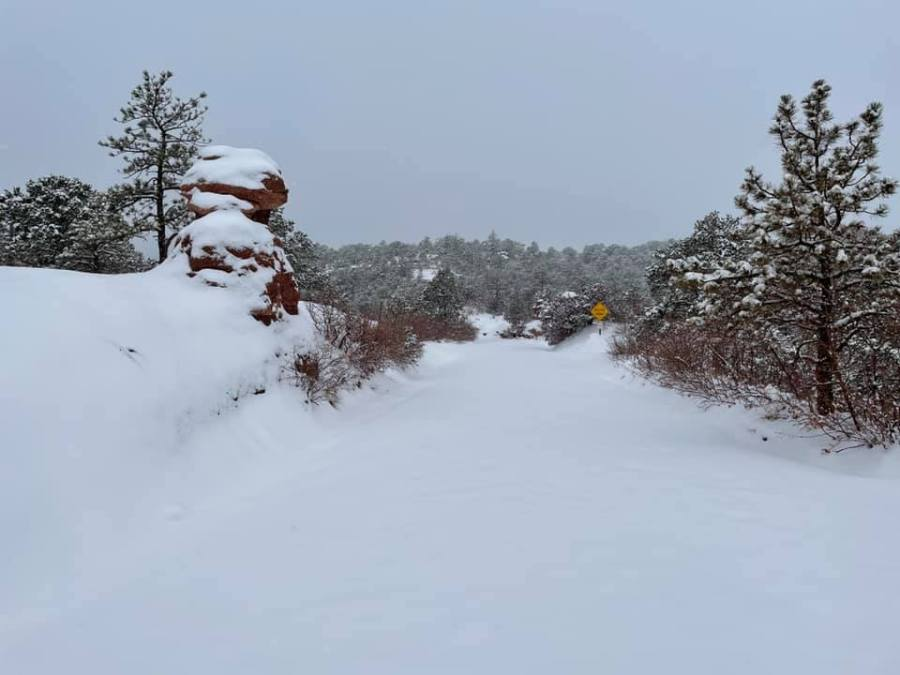6 inches or so on Rampart Range Road, from Kathy Rudy Hubel
