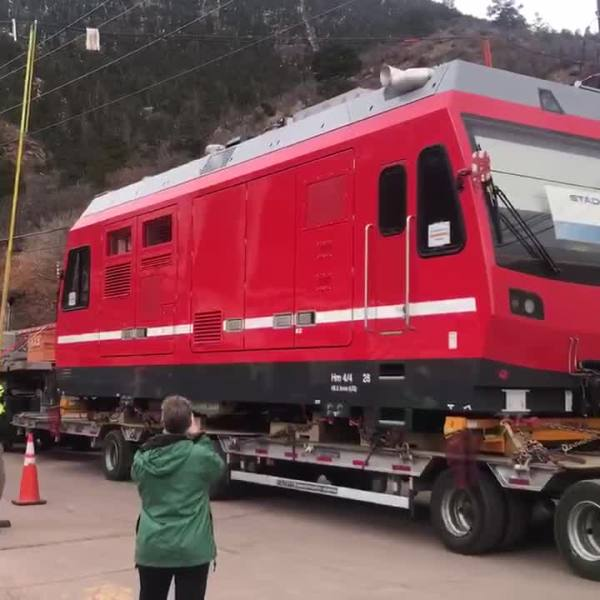 A new Pikes Peak Cog Railway locomotive arrives at the depot in Manitou Springs Friday. / Shawn Shanle - FOX21 News
