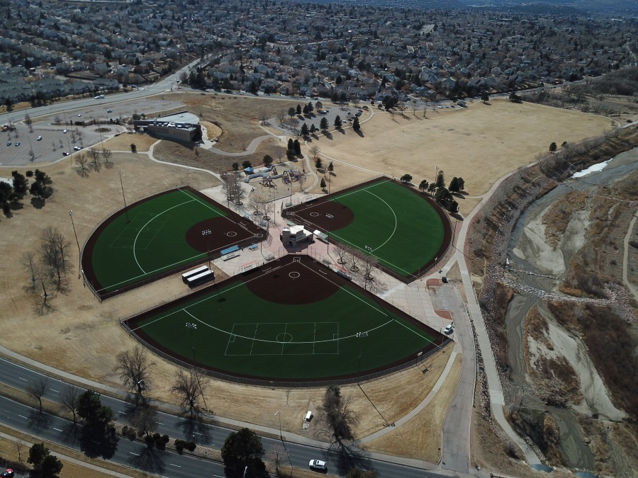 A drone view of the newly-resurfaced fields. / Courtesy City of Colorado Springs