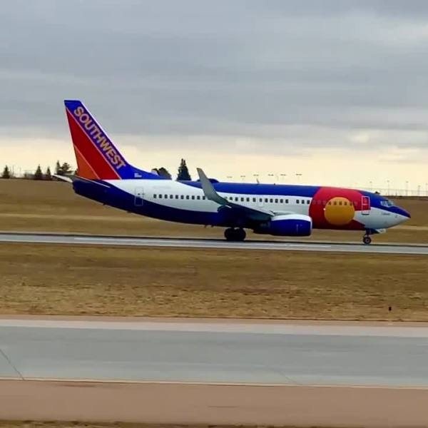 A Southwest Airlines flight from Denver arrives at the Colorado Springs Airport Thursday, March 11. / Still from video courtesy Colorado Springs Airport