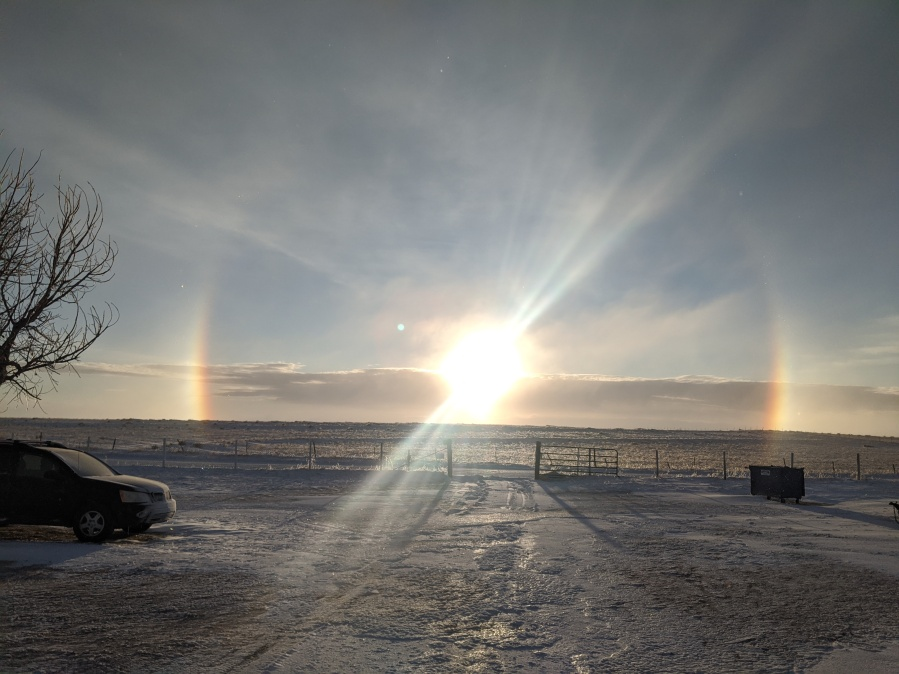 From Scott Whitworth - A snow bow near Alta Vista in eastern El Paso County Monday morning.