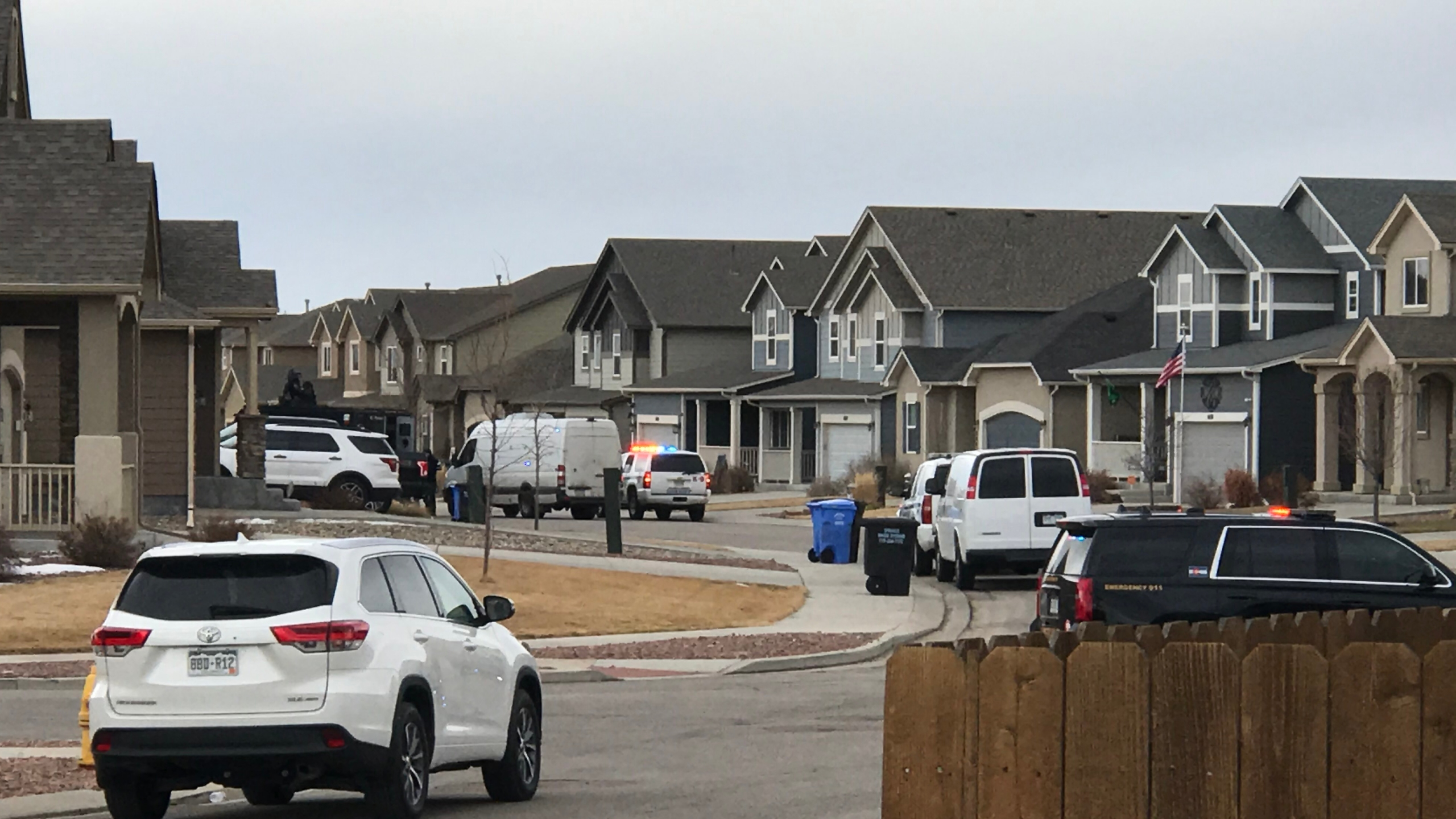 The El Paso County Sheriff's Office responds to a barricaded suspect on Stingray Lane in Security Thursday morning. / Shawn Shanle - FOX21 News