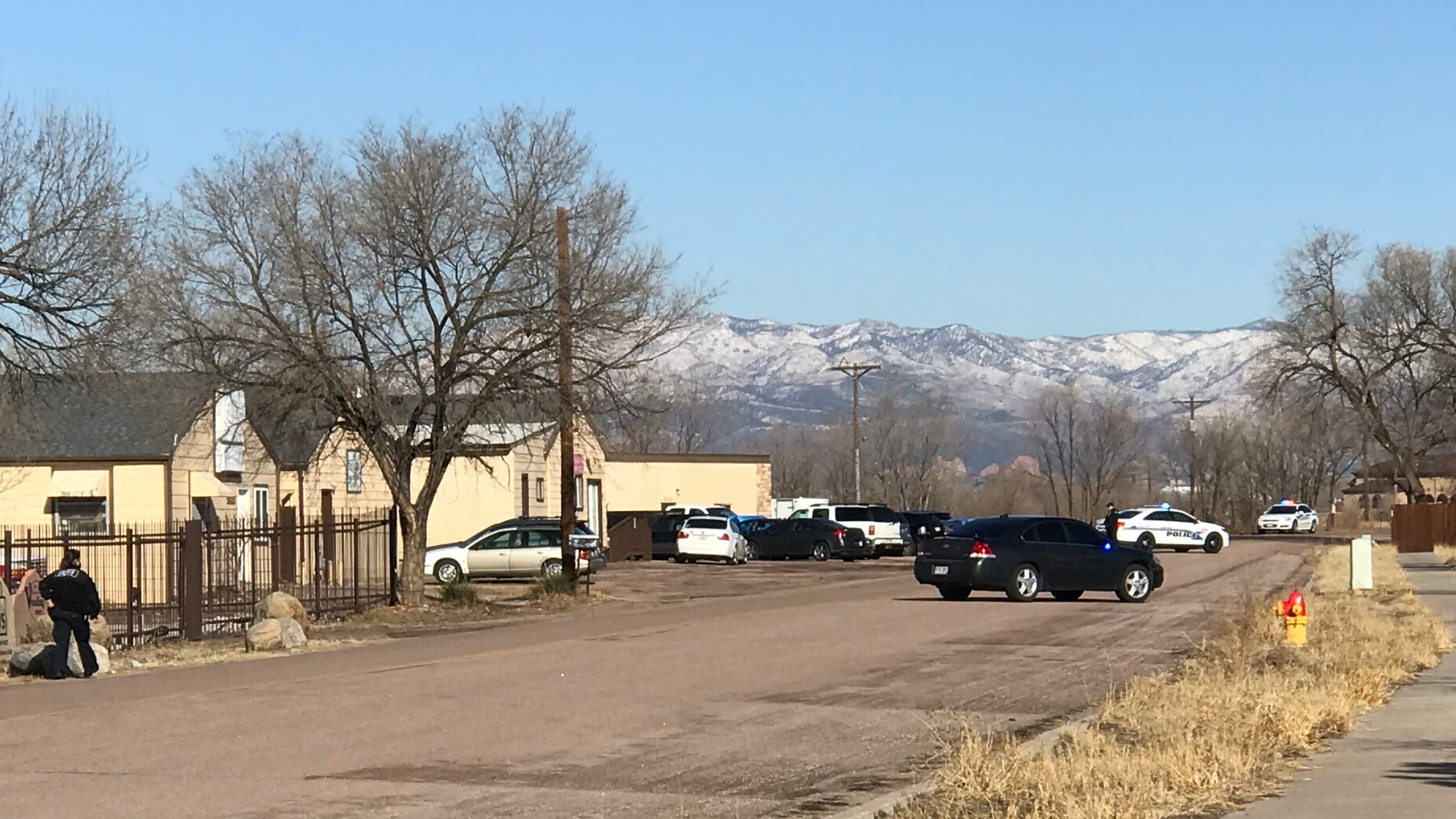 Police on the scene of an investigation off Highway 85/87 Friday morning. / Shawn Shanle - FOX21 News