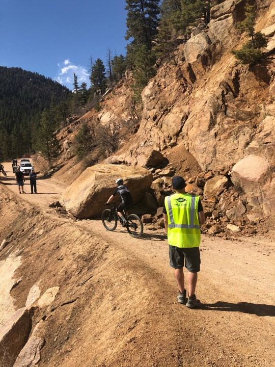 The boulder blocking Gold Camp Road. / Photo courtesy City of Colorado Springs