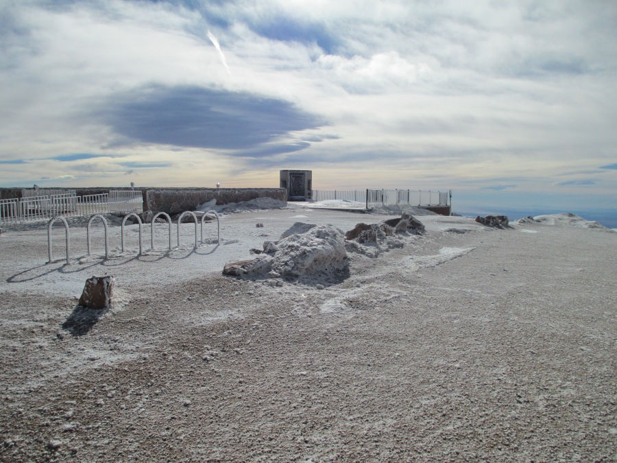 "The former overlook area on the Pikes Peak Summit. The plaque honoring Katharine Lee Bates' poem ""America the Beautiful"" will be moved to the summit's new eastern overlook. / Courtesy City of Colorado Springs"