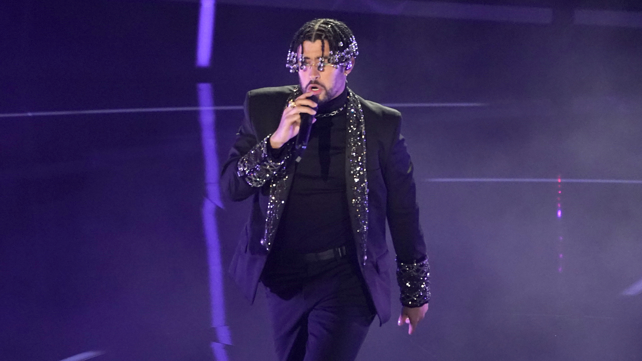 """Bad Bunny performs """"Yo Perreo Sola"""" at the Billboard Music Awards on Wednesday, Oct. 14, 2020, at the Dolby Theatre in Los Angeles. (AP Photo/Chris Pizzello)"""