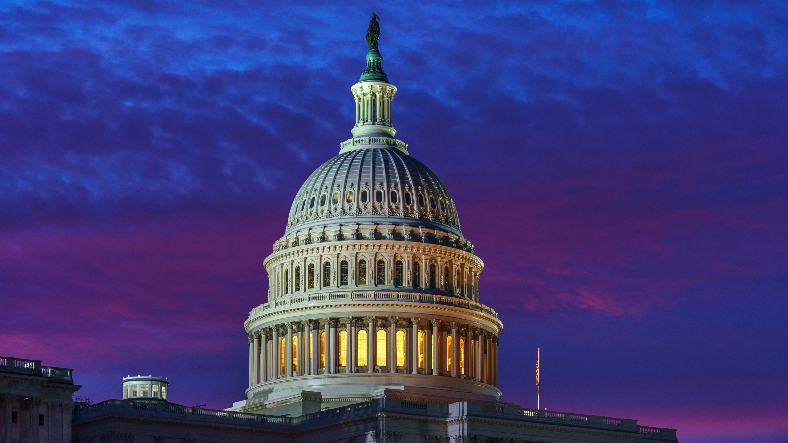 FILE - In this Nov. 6, 2020 file photo, dawn arrives on Capitol Hill in Washington. (AP Photo/J. Scott Applewhite)