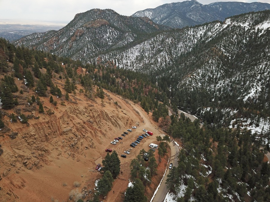 The Gold Camp Road parking lot that will be undergoing improvements. / Photo courtesy City of Colorado Springs