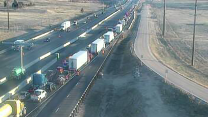 Traffic backed up on northbound Interstate 25 just south of Greenland Road Monday morning. / Courtesy Colorado Department of Transportation