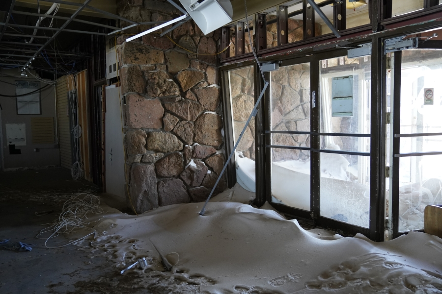 The 1960s-era Pikes Peak Summit House undergoes demolition Tuesday, April 6, 2021. / Courtesy City of Colorado Springs