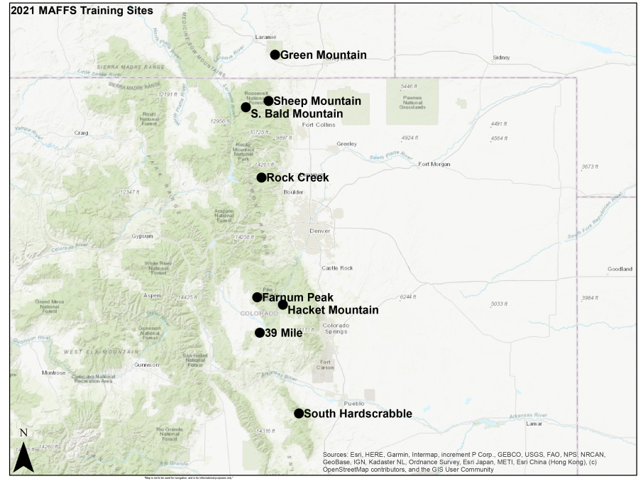 Map of potential drop zones on the Arapaho and Roosevelt National Forests, Medicine Bow, and Pike and San Isabel National Forests, provided by the U.S. Forest Service.