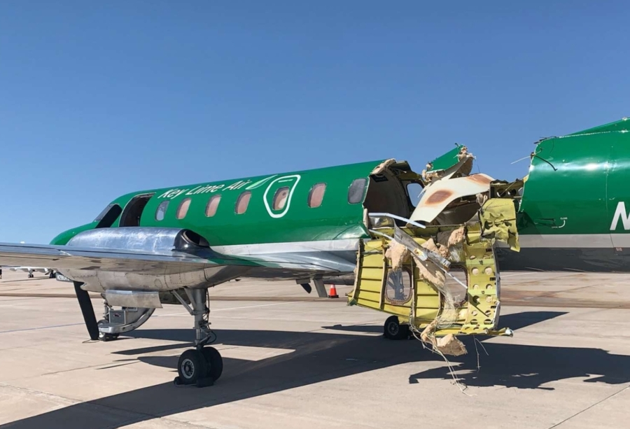 Photo showing damage of one of the aircraft involved in a midair collision