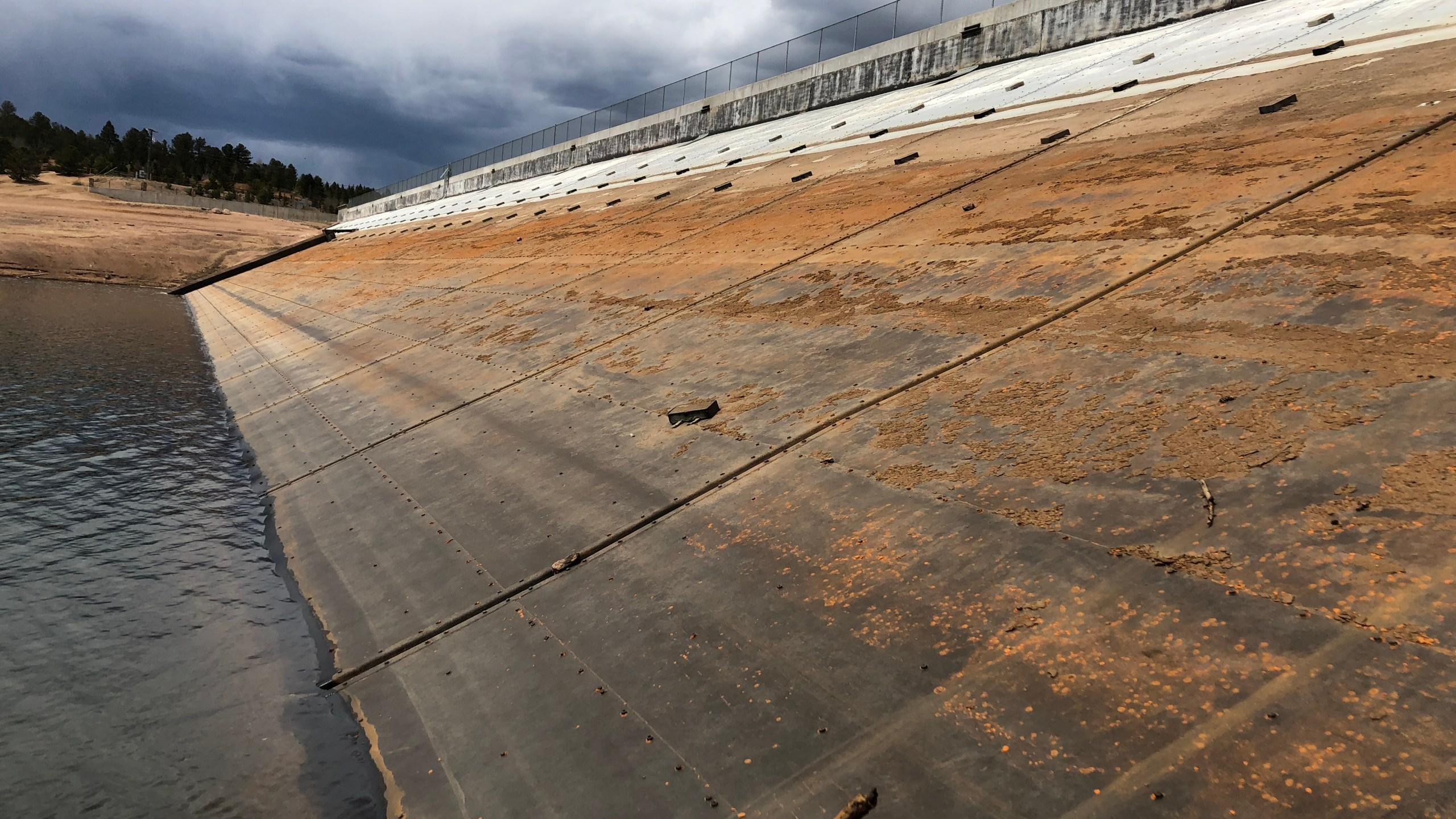 The steel dam face at Crystal Creek Reservoir / Courtesy Colorado Springs Utilities