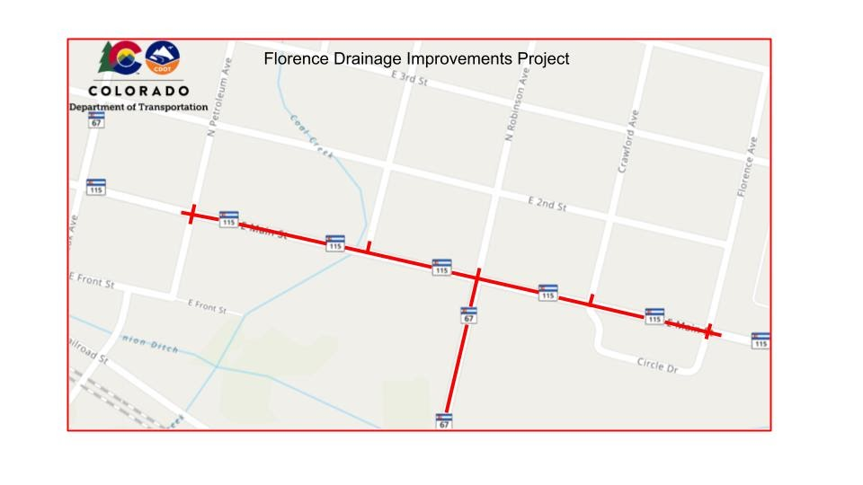 Florence drainage improvements map courtesy Colorado Department of Transportation