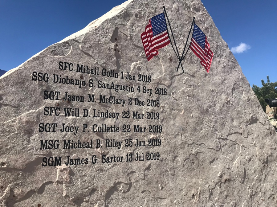 Names of two fallen soldiers were added to the Mountain Post Warrior Memorial at Fort Carson Thursday. / Shawn Shanle - FOX21 News