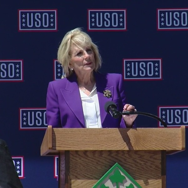 First Lady Jill Biden speaks at Fort Carson Thursday, May 6, 2021. / Sarah Hempelmann - FOX21 News