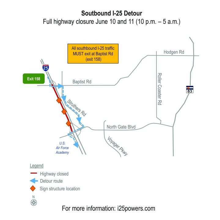 Map courtesy I-25 & Powers Boulevard Interchange Project