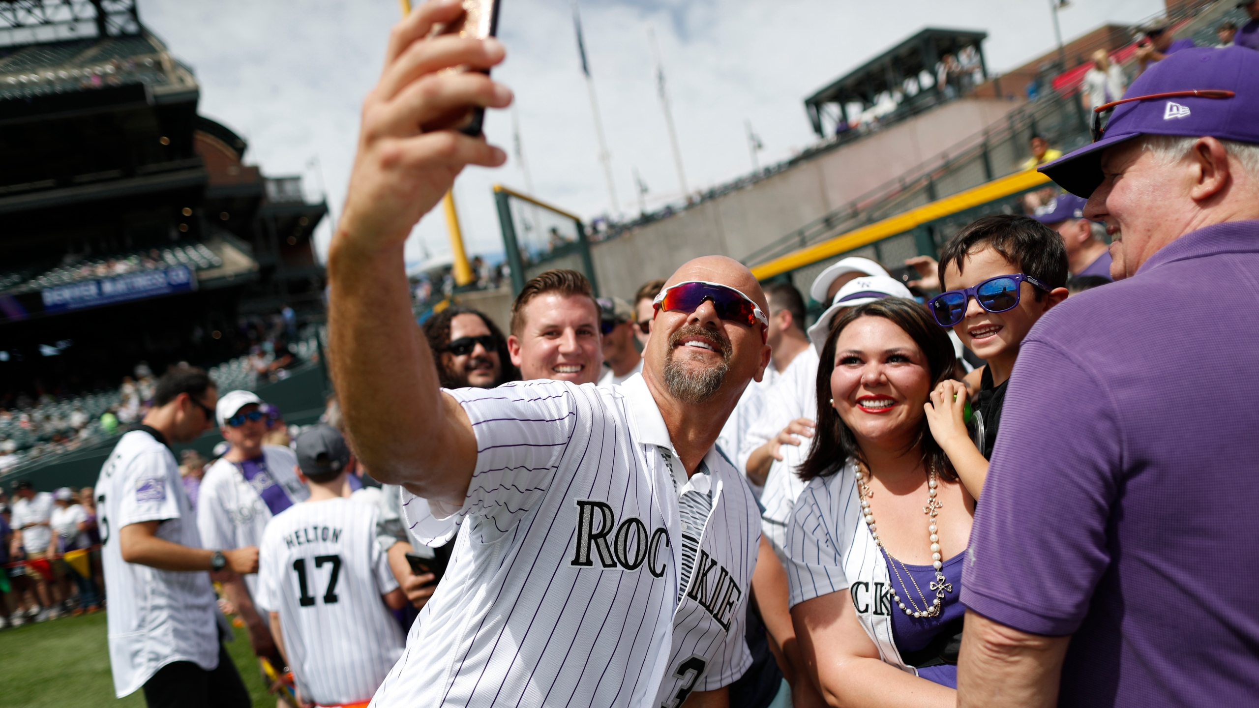Retired Colorado Rockies outfielder Larry Walker during picture day for the Rockies before a baseball game against the Miami Marlins Saturday, June 23, 2018, in Denver. (AP Photo/David Zalubowski)