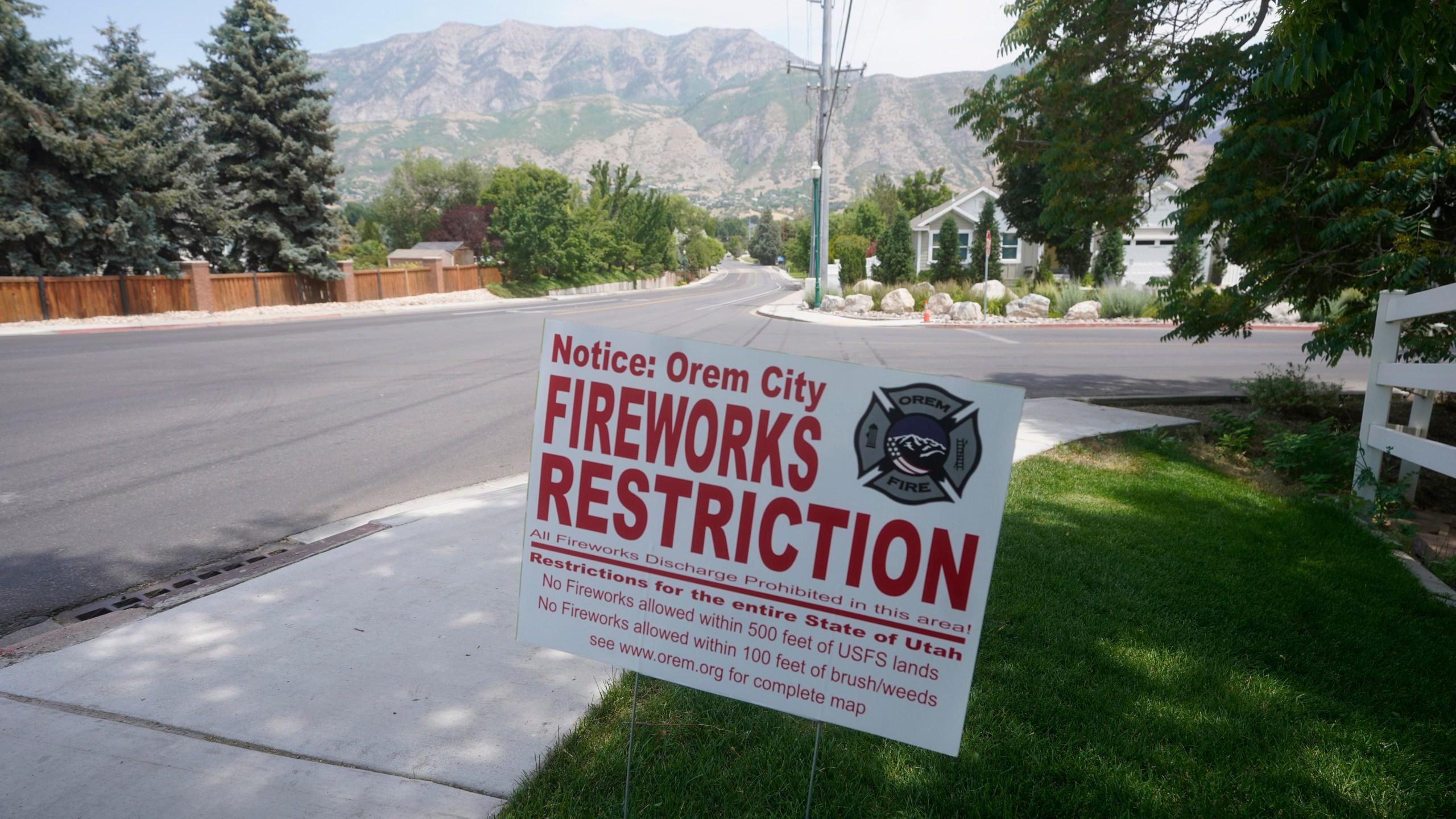 "A ""Orem City Fireworks Restriction"" sign is shown on Tuesday, June 22, 2021, in Orem, Utah. (AP Photo/Rick Bowmer)"