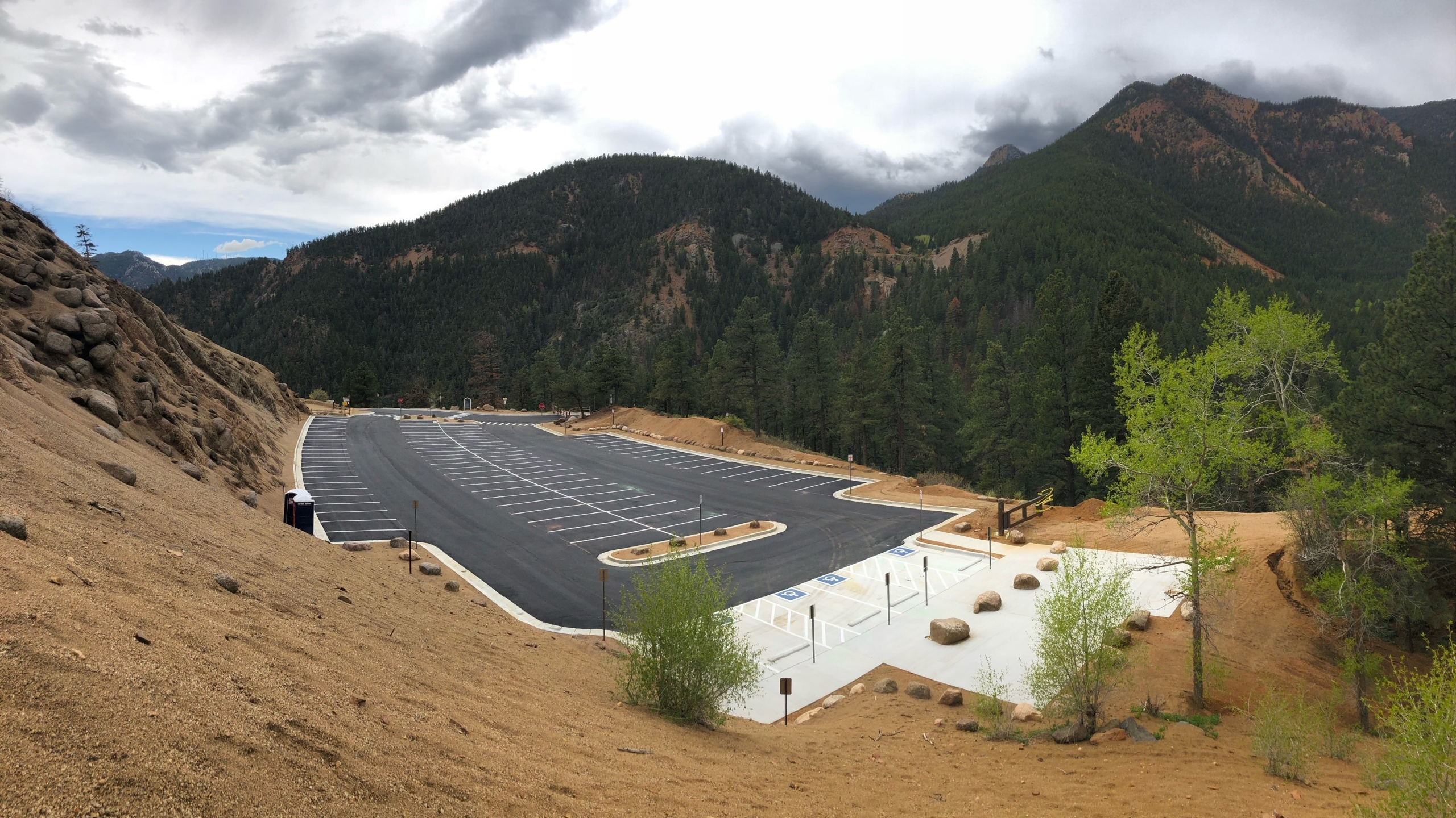 """The """"hub"""" parking lot uphill from Helen Hunt Falls in North Cheyenne Cañon Park reopened Wednesday with 92 paved parking spaces. / Photo courtesy City of Colorado Springs"""