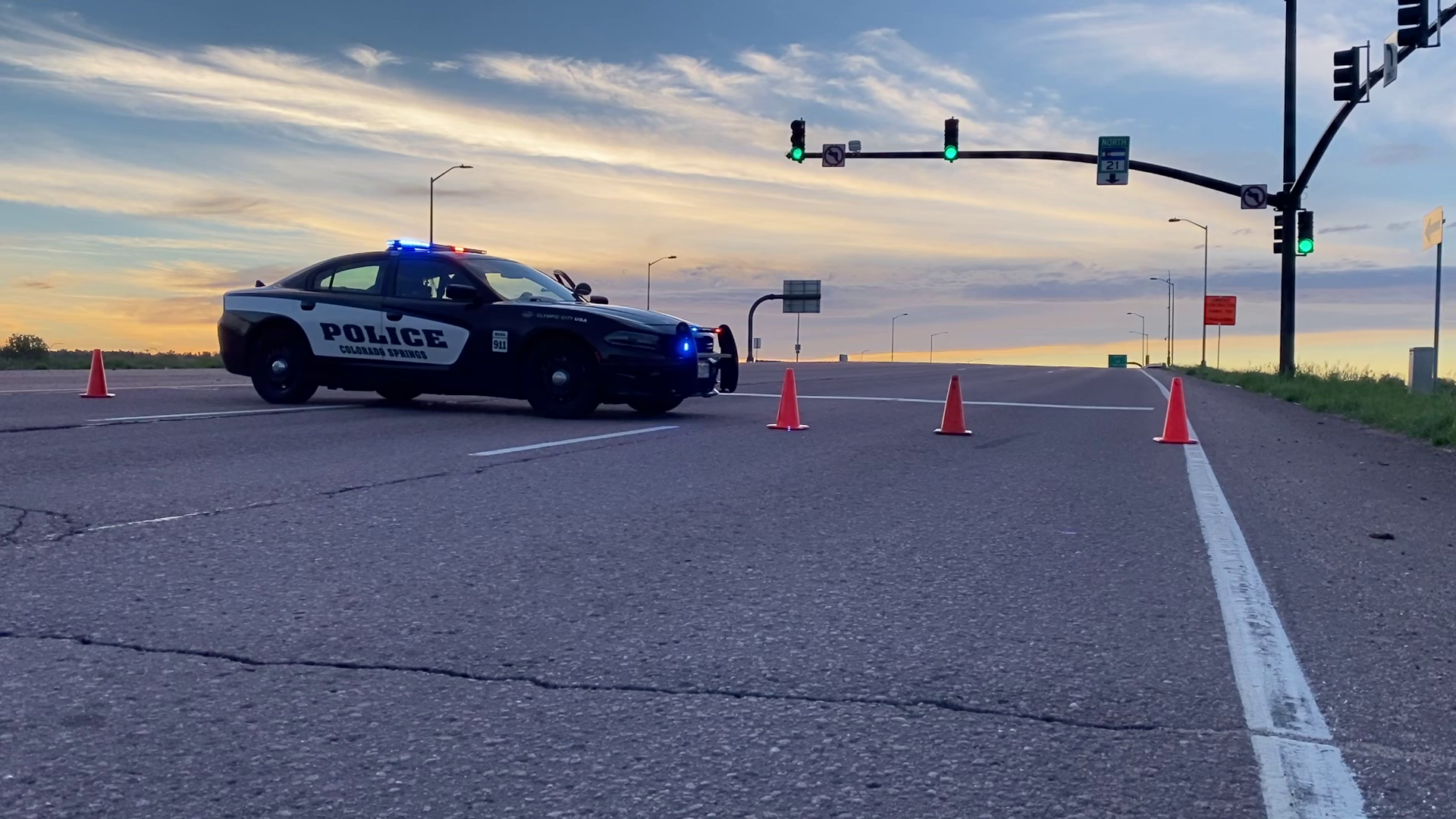Police on the scene of a crash at Platte Avenue and Powers Boulevard in Colorado Springs Sunday morning. / Joe Swanson - FOX21 News