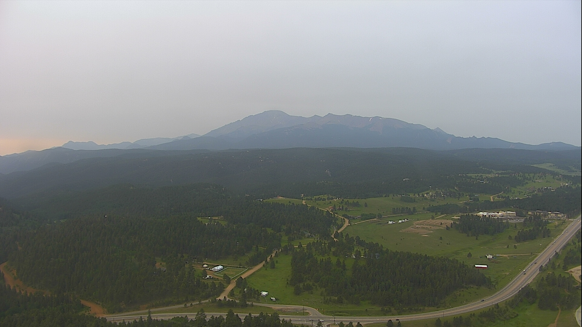 A hazy Monday morning as seen from Gold Hill in Woodland Park.