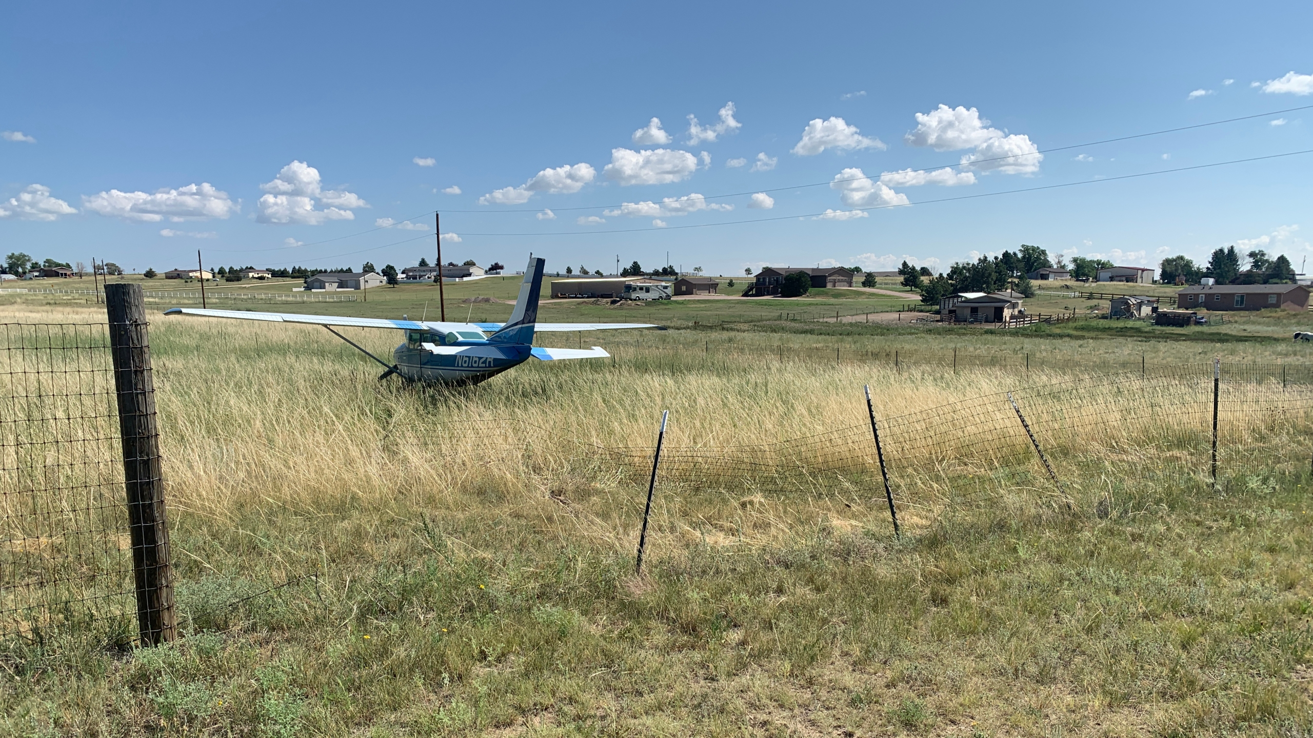 No one was injured when a small plane landed in a Peyton backyard Tuesday morning. / Sarah Hempelmann - FOX21 News