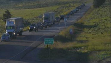 Northbound traffic on Highway 285 south of Poncha Springs Wednesday morning. / Courtesy Colorado Department of Transportation